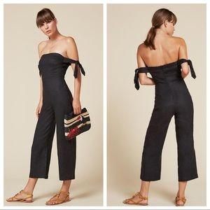 Reformation linen black jumpsuit sz 4